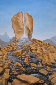 Acrylic on Canvas Otero 2010 Rock of Horeb Located in the region of Jabal Al Lawz in Saudi Arabia The Rock at Horeb struck by Moses to give wate. Rock of Horeb Grimm, Pray For America, Christian Artwork, Bible Pictures, Prophetic Art, Biblical Art, Lion Of Judah, Bible Truth, Bible Crafts