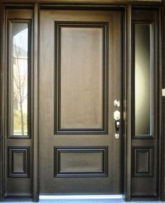 Exterior Captivating Black 2 Panel Front Door And Sidelites With Stainless Steel Awesome Modern Entry Doors For Home Design Ideas