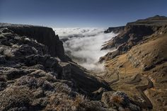 From the top of Sani Pass - a notorious road from Kwazulu-Natal in South Africa to Lesotho. Early morning and the valley was filled with mist. Moments later the mist had enveloped all and remained for the rest of the day Kwazulu Natal, Early Morning, Mists, South Africa, Mount Everest, In This Moment, Gallery, Top, Photography