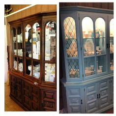 Homemade chalk painted china cabinet - scary but love it!