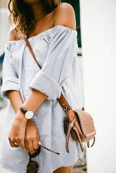 Vorher & Nachher: Herrenhemd in ein schulterfreies Kleid Fashion Mode, Look Fashion, Fashion Trends, Dress Fashion, Street Fashion, Diy Fashion, Fashion Ideas, Fashion 2018, Fashion Clothes
