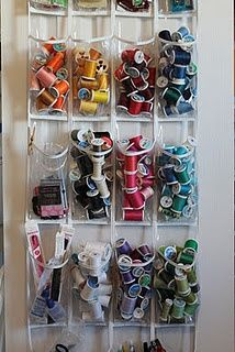 Craft room thread bobbin closet storage. Shoe storage is so useful! Forget the shoes!!