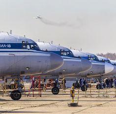 A beautiful line-up of Ilyushin IL18s!