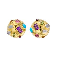 """Seaman Schepps Gem-Set """"Half Dome"""" Earrings  """"Half Dome"""" earrings in 18k yellow gold with multicolored gemstones, including amethyst, moonstone, peridot, citrine, turquoise and tourmaline. Small size. Clip backs with optional posts."""