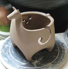 Alpaca Knitting Bowl by Sue Burdick Young, Pottery, Jay NY