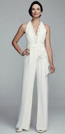 Halter Crepe and Lace Jumpsuit Style DB5805S #davidsbridal #bridalshower #bridetobe
