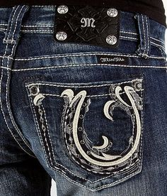 """Miss Me Jeans "" with horseshoe back packet. I'm not a bling jean fan, but I really like these!"