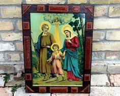 Vintage Tramp Art Frame Hand Carved with Religious Print