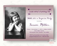 Photo Birthday Invitation, Printable Birthday Party Invitation, Surprise Invitation, Surprise 60th Birthday Invitations by PegsPrints on Etsy