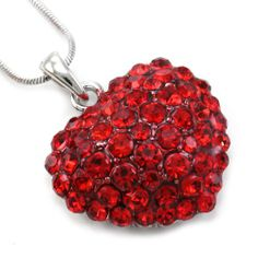 Cute Valentine's Day Red Heart Necklace Pendant Charm Silver Red Siam Paved Rhinestones Ladies Women Fashion Jewelry Gifts for M...