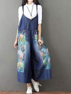 WAVEN Old-Used-Blue-Patchwork Dungarees 10 to16 RRP £65
