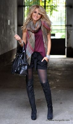 shorts, tights, and knee-high boots