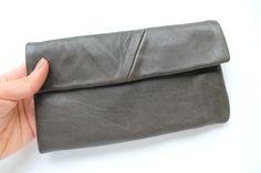 grey leather wallet by nastya klerovski