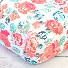 Hey, I found this really awesome Etsy listing at https://www.etsy.com/listing/259729945/everlys-garden-rose-crib-sheet-teal-and