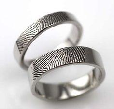 Fingerprint Wedding Rings #personalizedwedding #weddingrings @Kelly Teske Goldsworthy Teske Goldsworthy Lee Snow