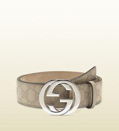 guccissima leather belt with interlocking G buckle