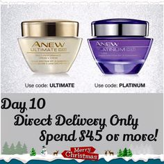 This is Day 10 of Avon's 12 days of christmas. Get Free Anew Ultimate Day Cream, or Anew Platinum Day Cream, with your order of $45 or more. FREE Shipping on all orders of $40 or more. Merry Cristmas everyone!!! www.youravon.com/lindabacho #avonrep