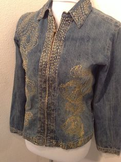 Chicos Denim Gold Embroidered Jacket Full Zip size 0 XS #Chicos #JeanJacket