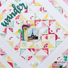 quilted composition with diagonal lines // scrapbook page by Laureen Wagener