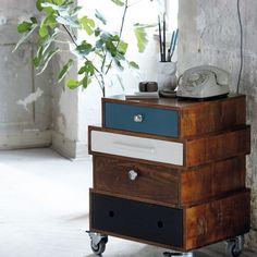 House Doctor DK Wooden side table on wheels Decor, Home Diy, Furniture Design, Furniture Diy, Furniture Makeover, Diy Furniture, Furniture, Wooden Side Table, Diy Decor