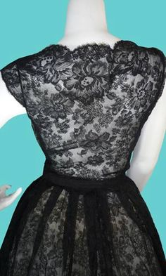 1960's Christian Dior Numbered Vintage Black Lace Dress