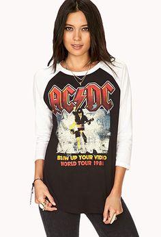 AC/DC World Tour Baseball Tee   FOREVER21 - 2000073661 - Nice! #ForeverHoliday #Forever21 #wishlist
