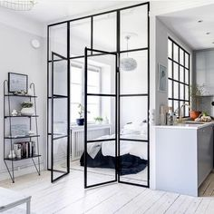 Chic Glass Partition Design Ideas For Your Living Room Modern Studio Apartment Ideas, Apartment Interior Design, Modern Interior Design, Room Interior, Small Apartment Design, Contemporary Apartment, Interior Paint, Contemporary Interior, Luxury Interior