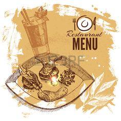 Dibujado a mano conjunto comida del restaurante boceto Men de cocina europea…
