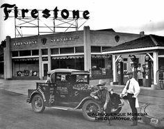 Model A Ford at Firestone Gas and Service Station Old Gas Pumps, Vintage Gas Pumps, Vintage Trucks, Old Trucks, Vintage Auto, Pompe A Essence, Gas Service, Old Gas Stations, Old Country Stores