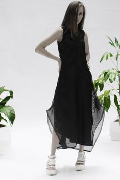 Shop Emerging Conceptual Womenswear Designer Luba GnaSevych Black Double Layer Dress at Erebus