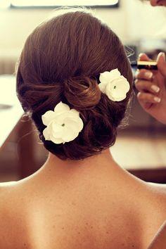 "Bridal Fascinator, Bridal Hair Fascinator, Gardenia With Clear Swarovski Rhinestone (3""), Bridal Hair Accessories, Wedding Hair Flowers. $25,00, via Etsy."