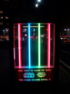 BUS SHELTER FOR FANS ))SPIKE TV Agency: Unknown American TV station, Spike TV decided to brighten up U. bus shelters by installing some colourful lightsaber displays. The installation was to promote Star Wars Episode III: Revenge of the Sith, when. Bus Stop Advertising, Clever Advertising, Advertising Design, Marketing And Advertising, Advertising Campaign, Marketing Ideas, Digital Marketing, Street Marketing, Guerilla Marketing