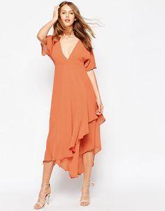 Image 1 ofASOS Midi Dress with Plunge Neckline