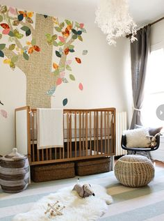 Serene modern nursery- and you can give the leaves to guests at a baby shower so they can write messages for the baby! Love this ♥