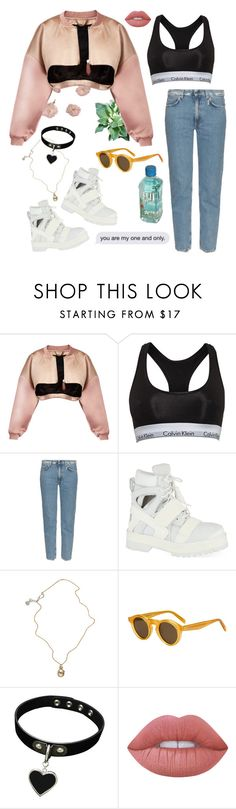 """Sin título #883"" by gabriellasan ❤ liked on Polyvore featuring Burberry, Calvin Klein, Acne Studios, Hood by Air, Jessica de Lotz Jewellery, CÉLINE and Lime Crime"