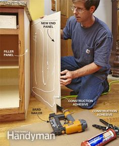 Begin the cabinet refacing by installing the end panel.