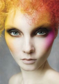 vibrant hi-fashion makeup look.