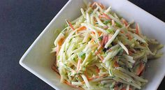 Kohlrabi Salad-I would make it vegan by using Nasoya mayo or just leaving the creaminess out altogether and doing a vinegar based dressing!