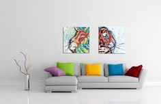 tara richelle art,big cat set, two paintings, lion, tiger, art, home decor, original art, abstract, pop art, funky, warhol, modern, jungle, rainforest, gifts, rasta, rastafarian, one love, bob marley, iron lion zion, colorful, wall art, home decor, tiger art, tiger sign, tiger symbol, leo the lion