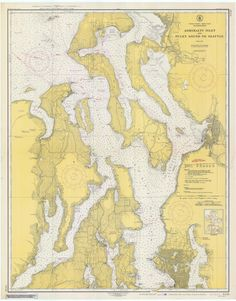 Puget Sound to Seattle & Admiralty Inlet Historical Map 1948