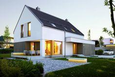 DOM.PL™ - Projekt domu DZW PROSTY 1 CE - DOM DW1-34 - gotowy projekt domu. Nowoczesny projekt domu bez okapu dostępny w trzech wersjach.