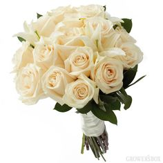 Bride's Throwaway Bouquet of White Roses