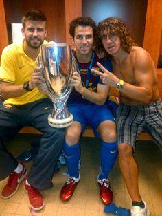 Team Moc Moc Moc. Pique (Moc 1) Cesc (Moc 2) y Puyol (Moc 3 or Captain Moc). Reason #458 why I love FC Barcelona