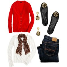 Dark denim, white long sleeve t-shirt, red boyfriend cardigan, leopard scarf, black flats. Casual Holiday Outfits, Fall Winter Outfits, Autumn Winter Fashion, Cute Outfits, Red Cardigan Outfits, Love Fashion, Womens Fashion, Work Attire, Look Cool