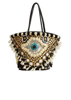 LOVE THIS BAG! Intricately designed with black and white pom poms, beading, gold coins and mirrors, this Indian-inspired handmade tote is roomy enought to hold all your essentials and more. Features stitched leather handles and cotton twill lining with interior zip pocket and optional drawstring closure.