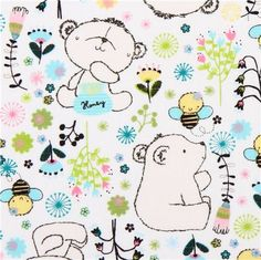 white bear bee animal fabric Camelot Theodore and Izzy