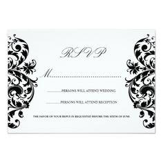 Damask RSVP Wedding Invitations Black and White Damask Wedding RSVP Cards