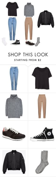 """Outfit"" by hah-na on Polyvore featuring Topshop, MANGO, Yves Saint Laurent, Bottega Veneta, Converse, HOT SOX and Hue"