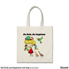 My birds my happiness tote bag. Available also in different bag style. #cutecartoon #bird #girlcartoon #kawaiigirl #parrot #birdcartoon #drawing #sweetlittlegirl #sweetdaughter #birdlover #cartoon #manga #chibi #avian #zazzle #petopet #emmil #thomas #deviantart #merchandise #sale #birds #tote #bag #bags #totebag #totebags