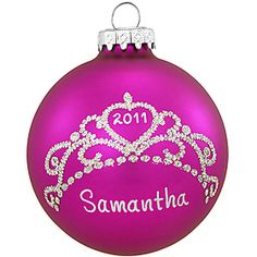 Personalized Tiara Glass Ornament - 1148744 - $8.99 #personalized #tiara  #ornament #Christmas #BronnersChristmasWonderland #Bronners